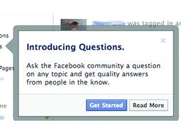 Lancement de Questions Facebook.