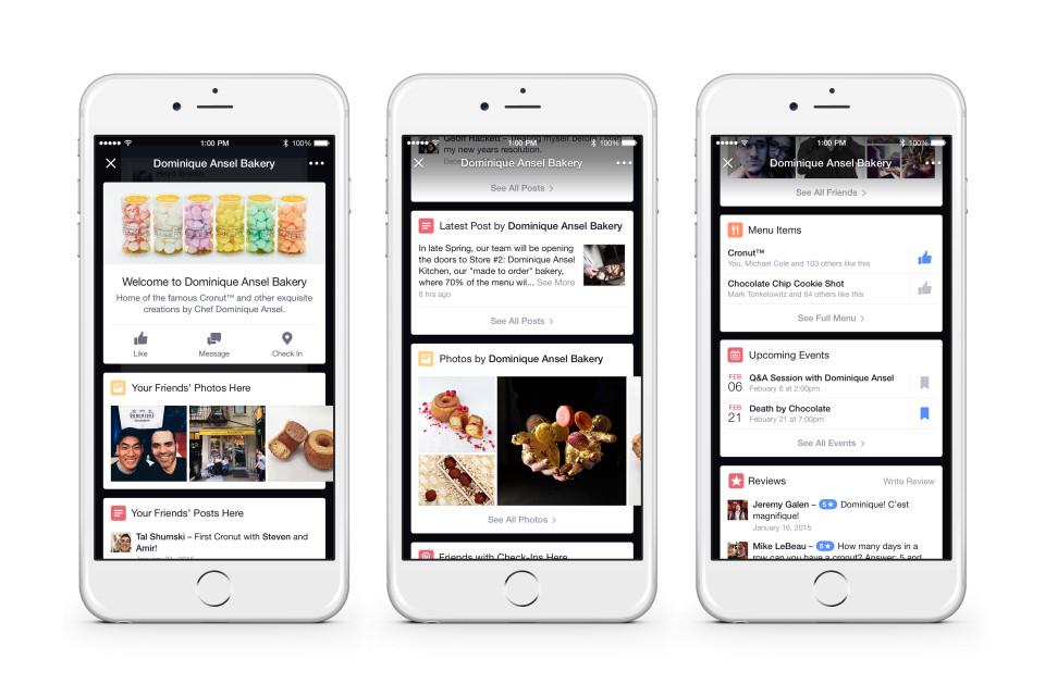 Place Tipsで表示されるFacebookページからの情報の例