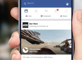 Facebookに360度動画が登場。