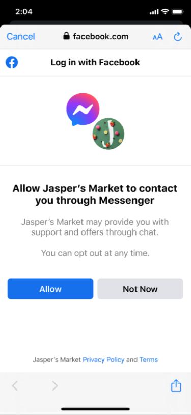 Login Connect con Messenger