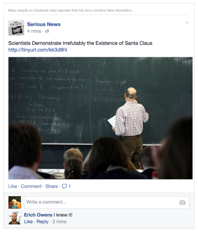News Feed - Fewer Hoaxes - Example