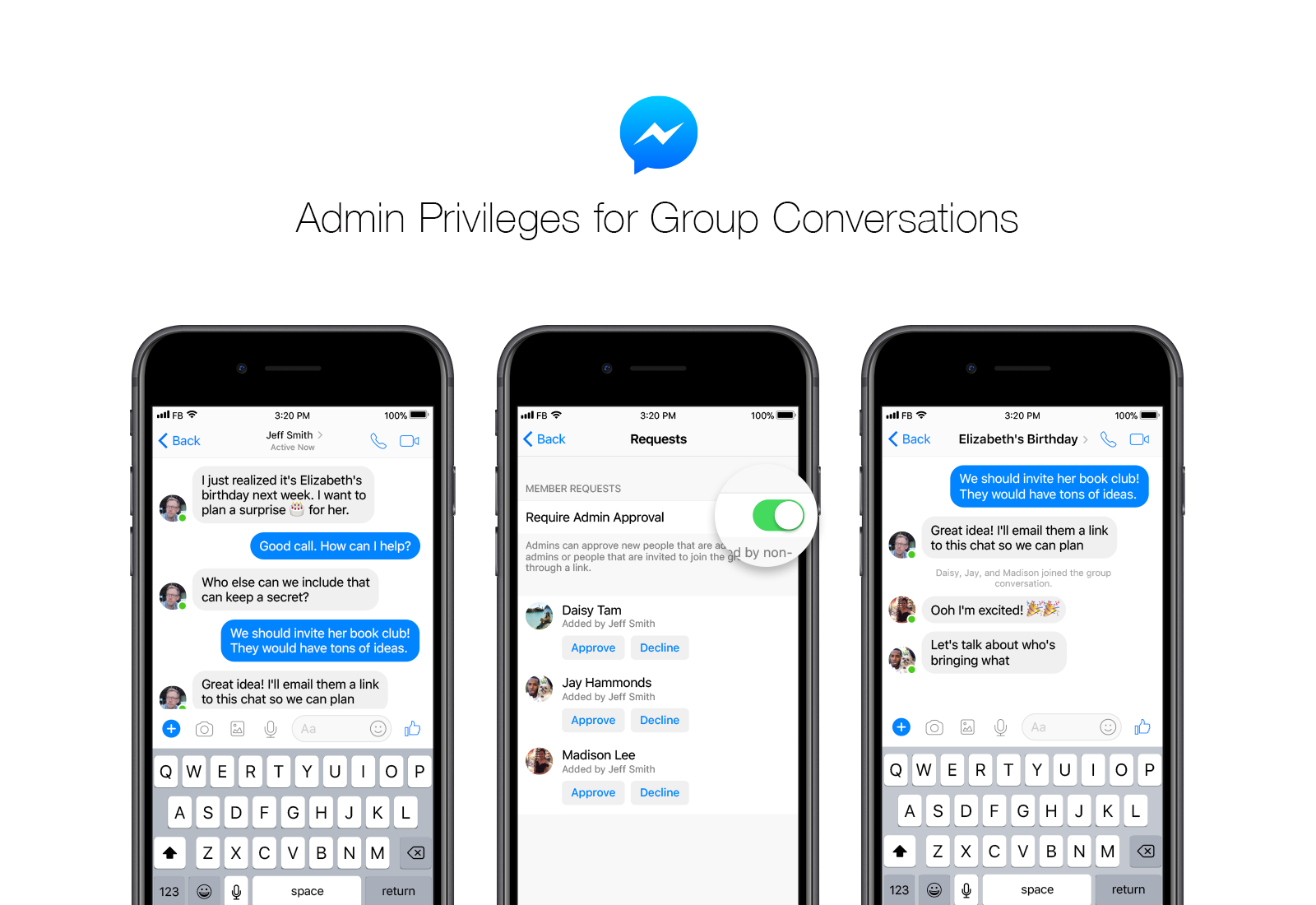 Admin Or you're in charge: messenger group chats are now better than