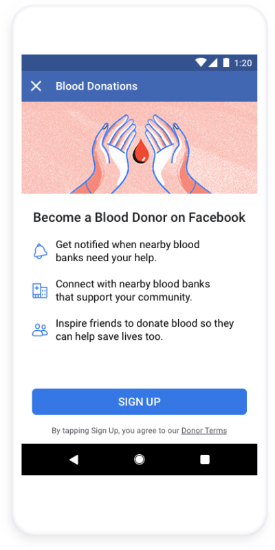 FB donor sign up page