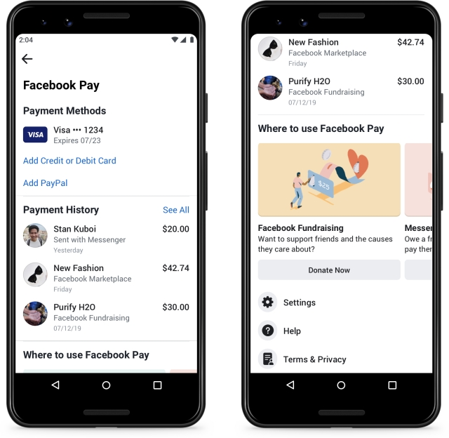 Facebook Pay product screenshot