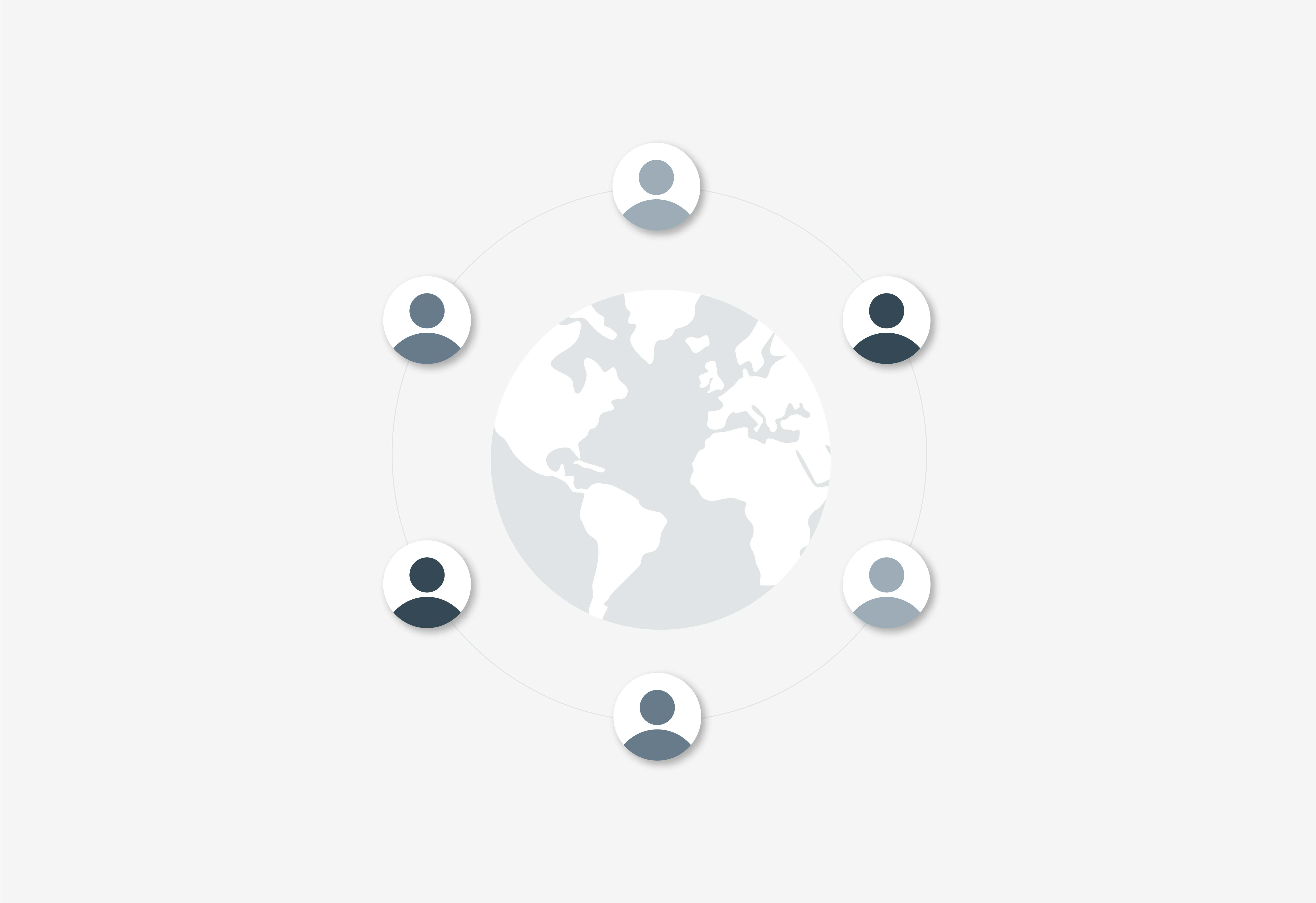 Graphic of people around a globe representing the Oversight Board.