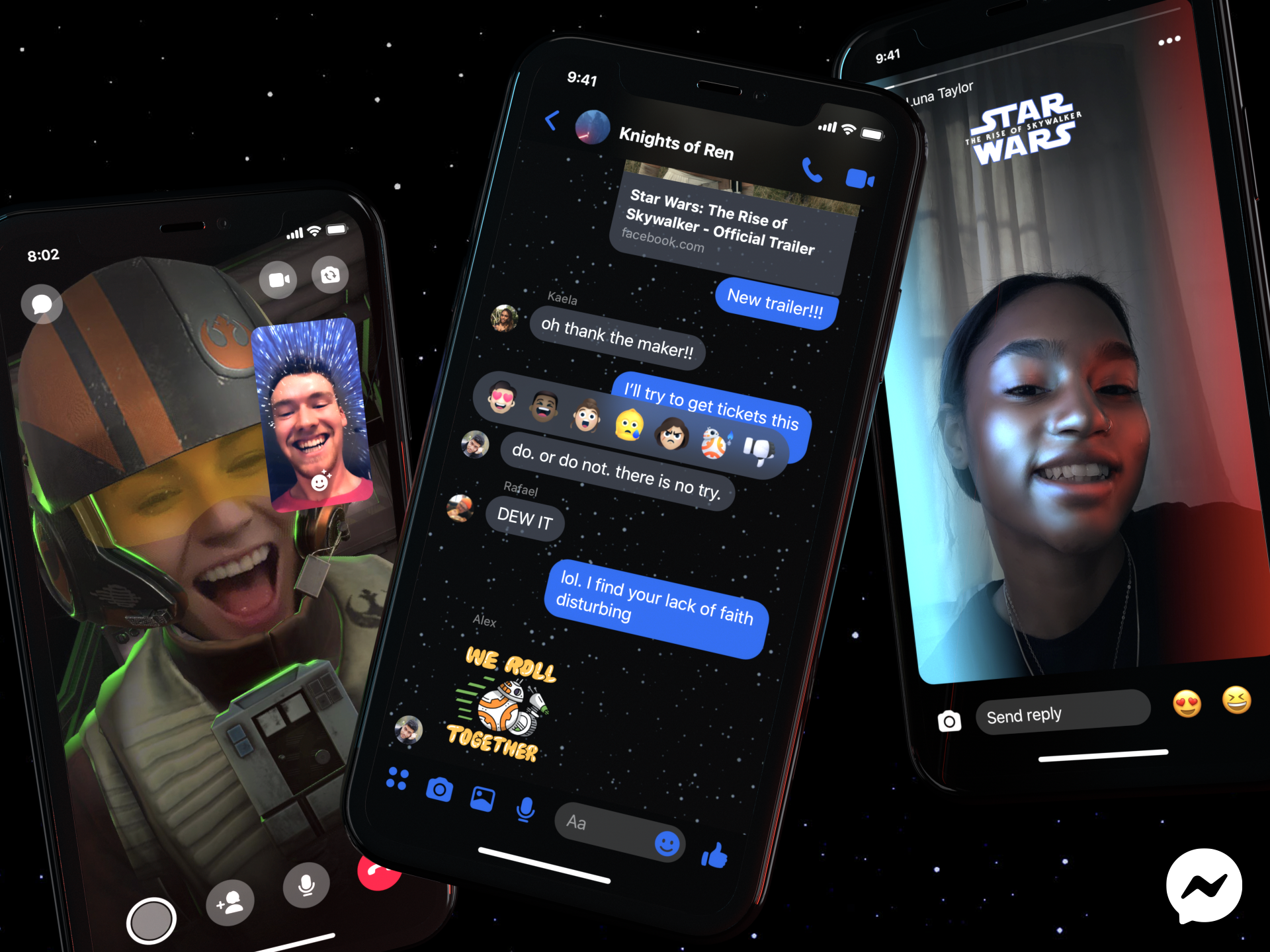 Phone screens showing Star Wars AR effects, chat theme and stickers in Messenger.