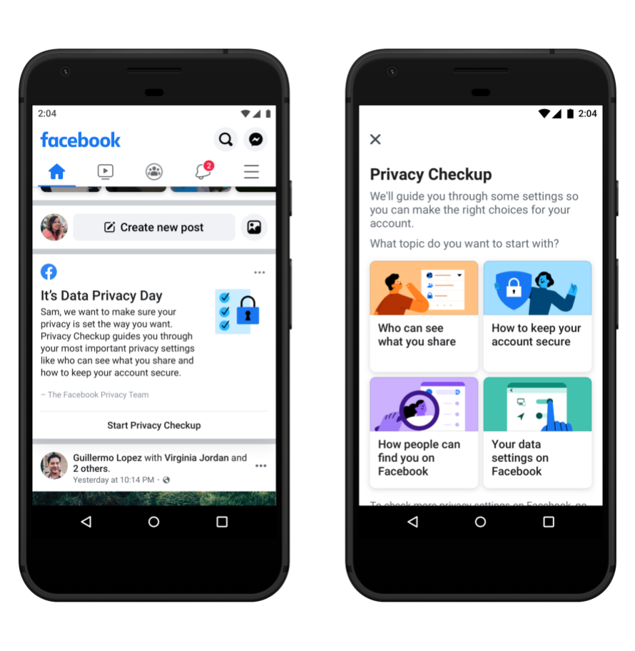 Screenshot of Privacy Checkup prompt in News Feed