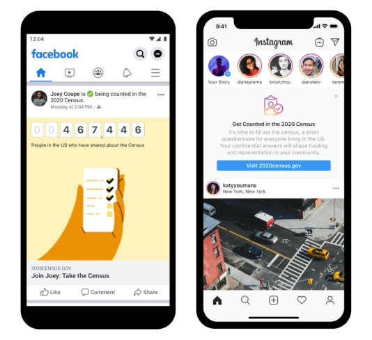 Screenshots showing census prompts on Facebook and Instagram