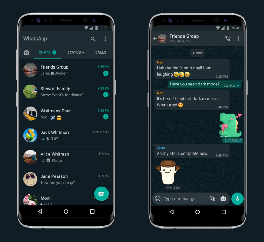 Screenshots of Dark Mode on Android