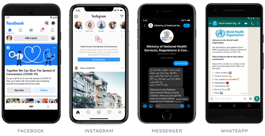 Screenshots of our efforts to connect people to accurate information across Facebook, Instagram, Messenger and WhatsApp