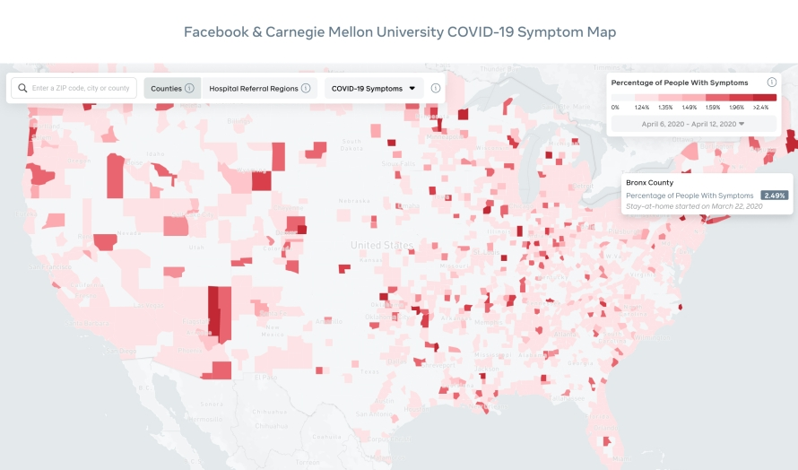 Facebook and Carnegie Mellon University COVID-19 Symptom Map