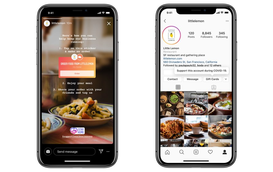 Screenshots of food ordering and gift cards on Instagram