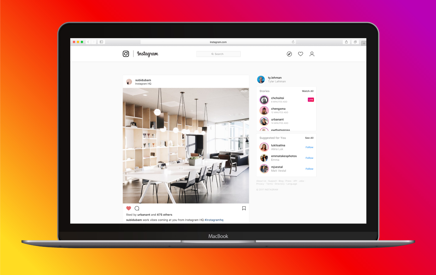 Instagram Live in desktop feed