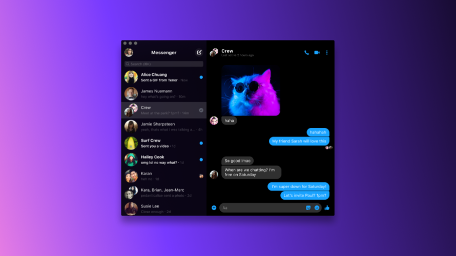 Photo of Messenger for macOS in Dark Mode