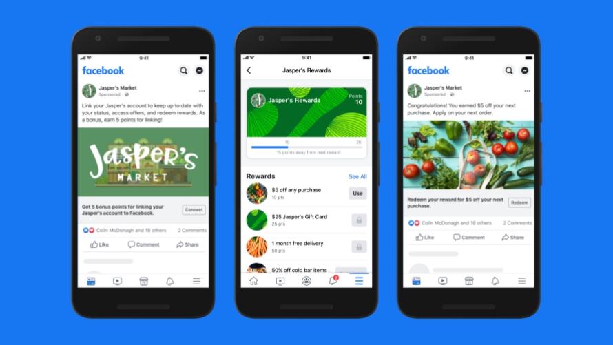 Schermate dei programmi fedeltà collegati su Facebook