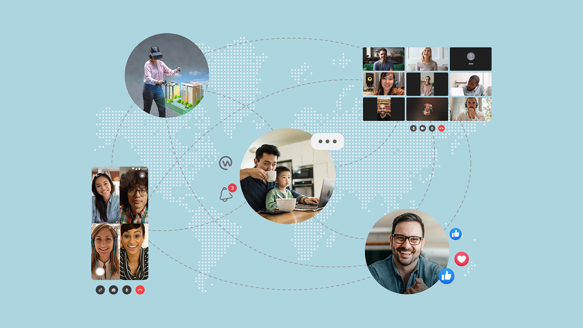 Photos showing people working remotely and staying connected in different ways, such as through Workplace chat, group video calls, Live videos and more.
