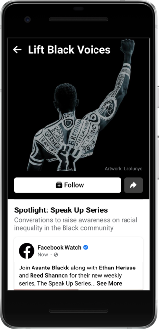 Screenshot of Lift Black Voices hub