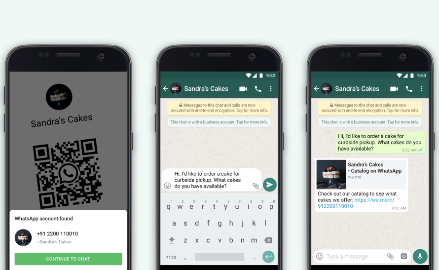 Screenshots of using QR codes to start a chat with a business on WhatsApp