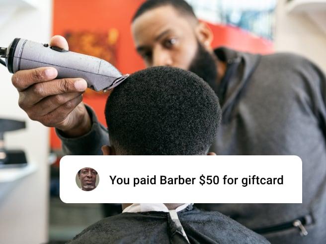Barbershop customer getting haircut with gift card UI overlay