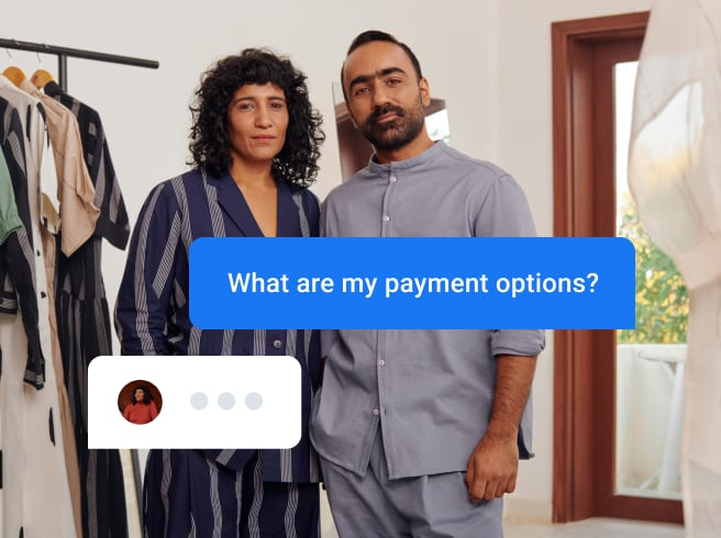 Small business owners responding to a payment option question from user