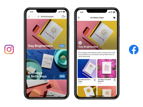 Two phones highlighiting shops on Facebook and Instagram