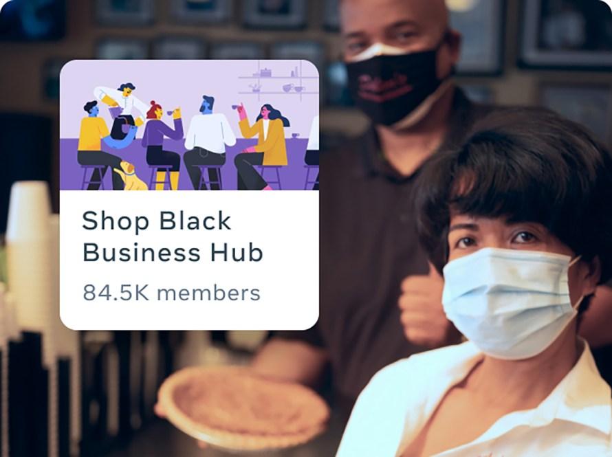 Man and women wearing masks holding pies. Man is wearing black shirt woman wearing white shirt.
