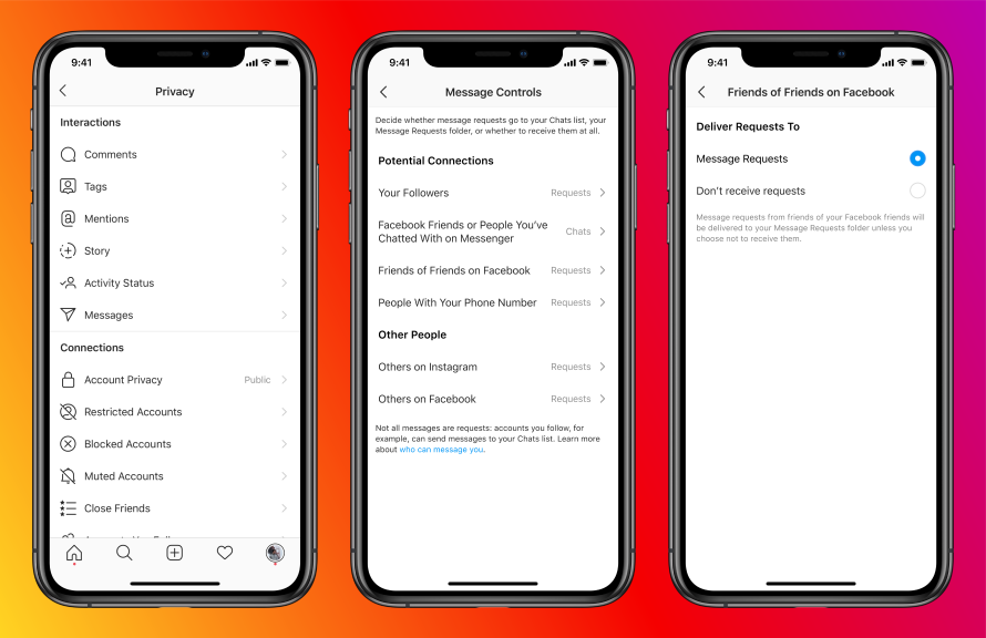 Capturas de pantalla de los controles de mensajes