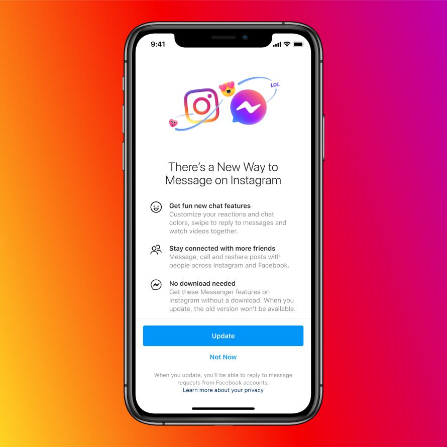 Instagram Update unifies Messenger and DM