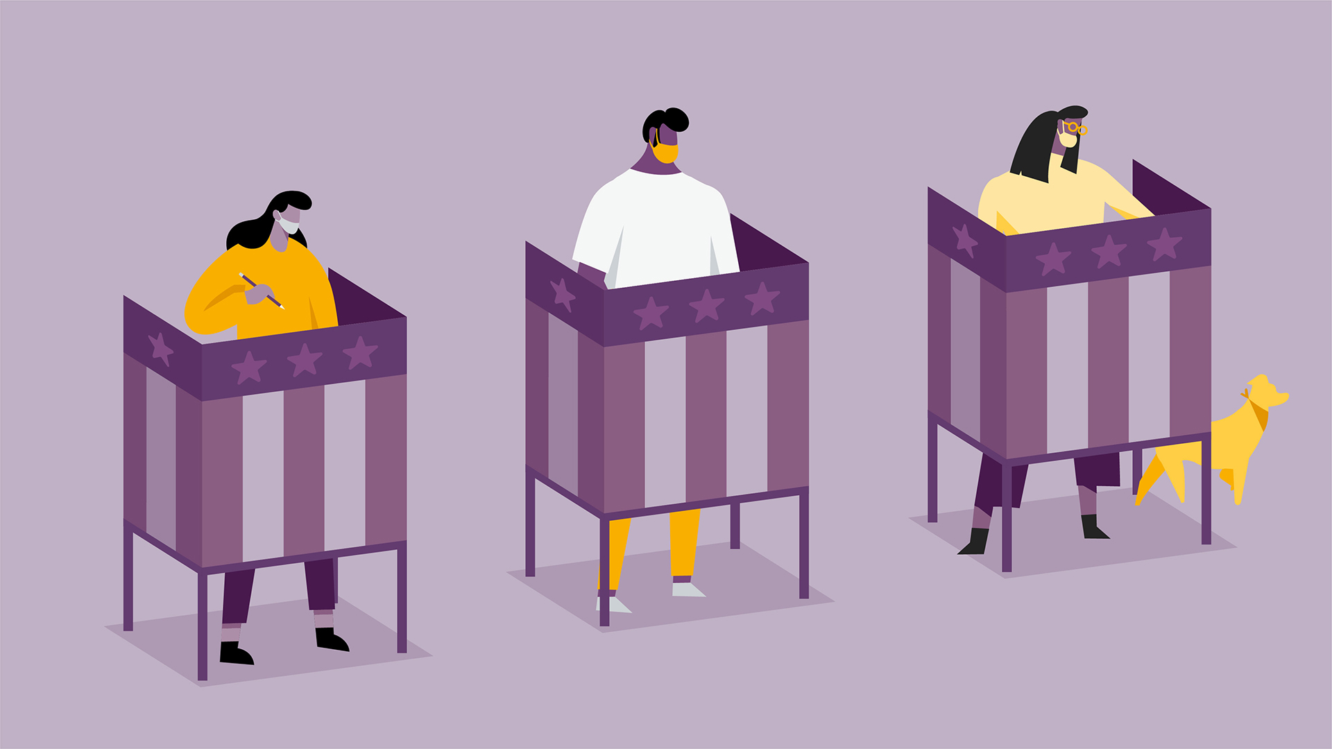 illustration of 3 people at the voting booth