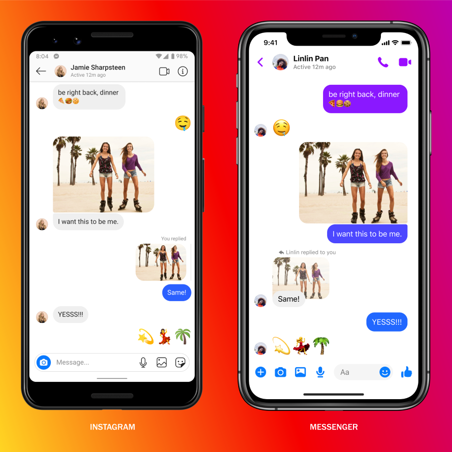 Screenshots of cross-app messaging on Instagram and Messenger