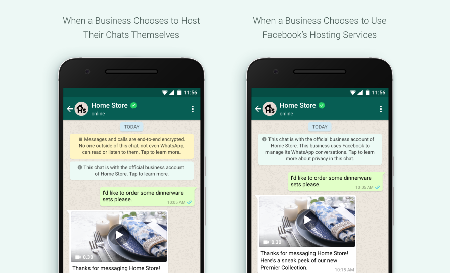 screenshots of WhatsApp conversations with businesses showing Facebook Hosting Services