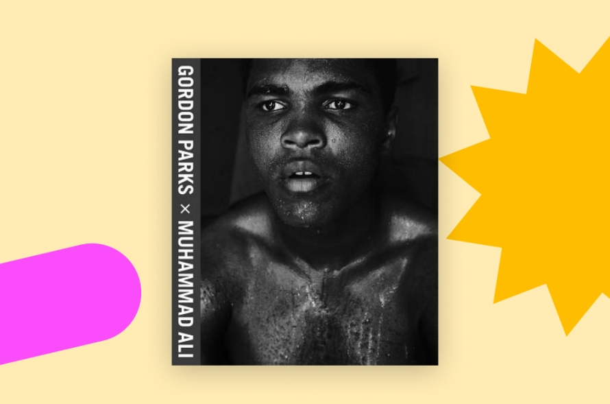 Black and white book cover with photo of Muhammad Ali drenched in sweat.