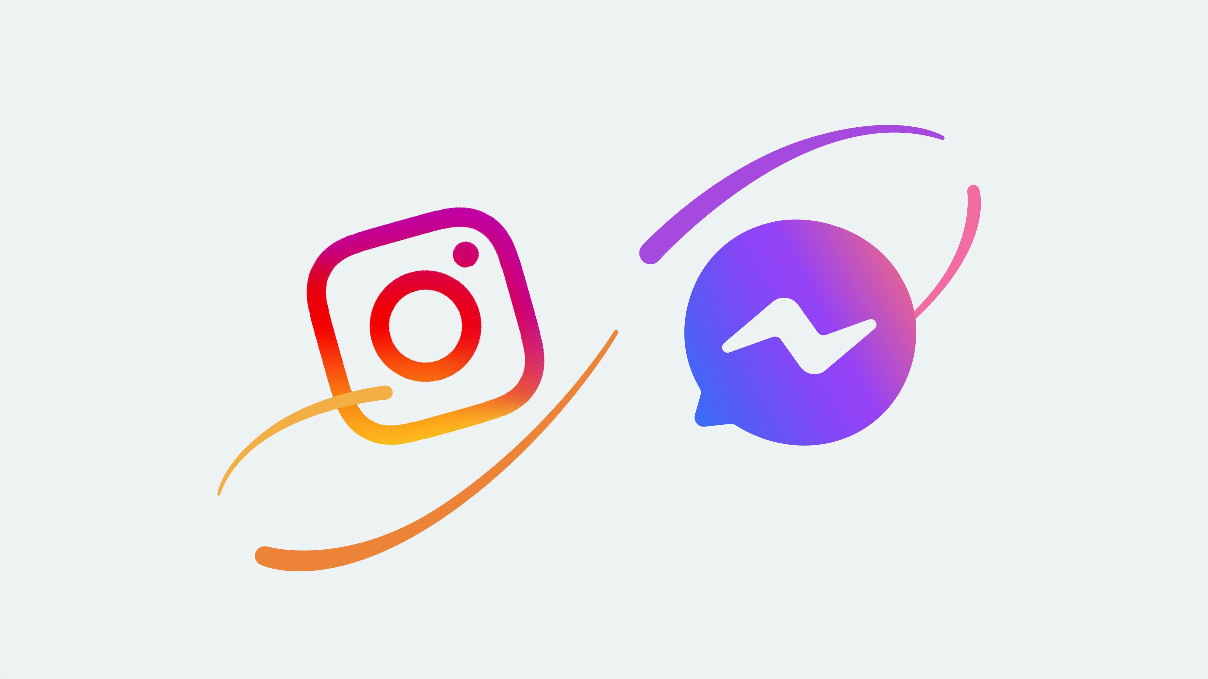 graphic for the new messaging experience on Instagram and Messenger