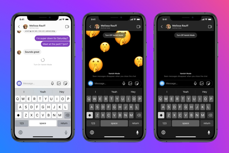 Screenshots of vanish mode on Messenger and Instagram