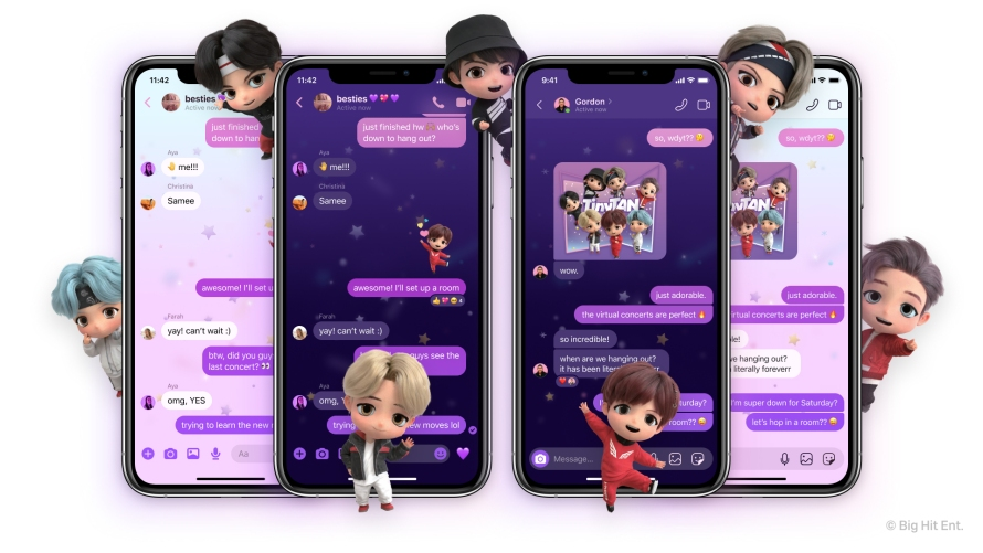 Images of TinyTAN chat theme on Messenger and Instagram