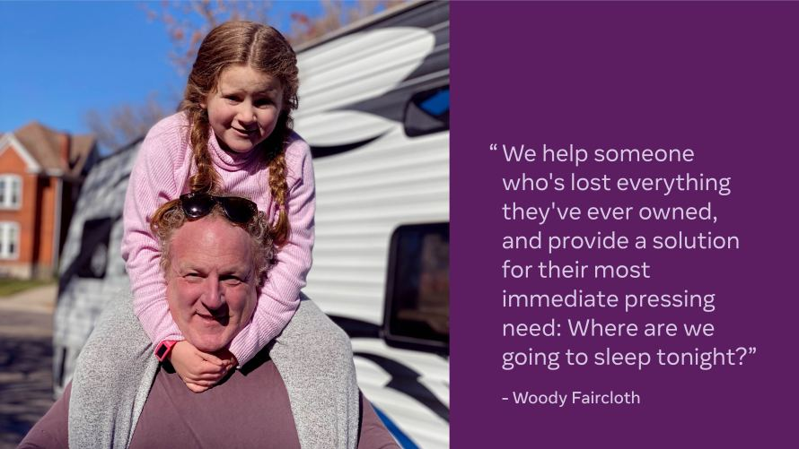 Photo of Woody Faircloth with his daughter on his shoulders next to a quote from Woody
