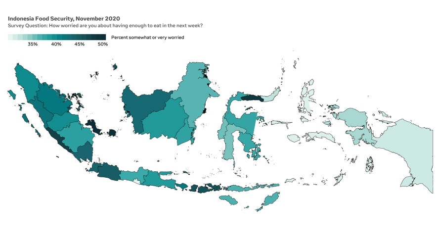 Map of Indonesia showing the rate of food insecurity