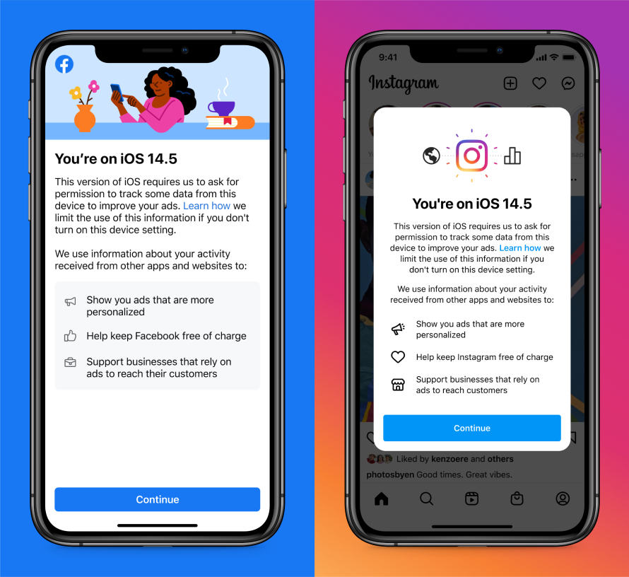 Screenshot of educational screen on Facebook and Instagram on iOS14