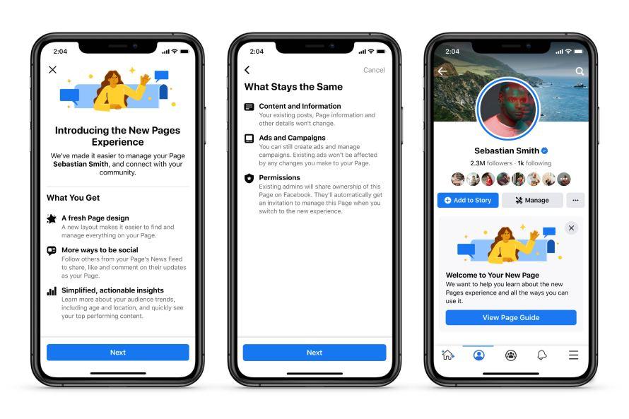 Captures d'écran du nouveau design de l'expérience Pages