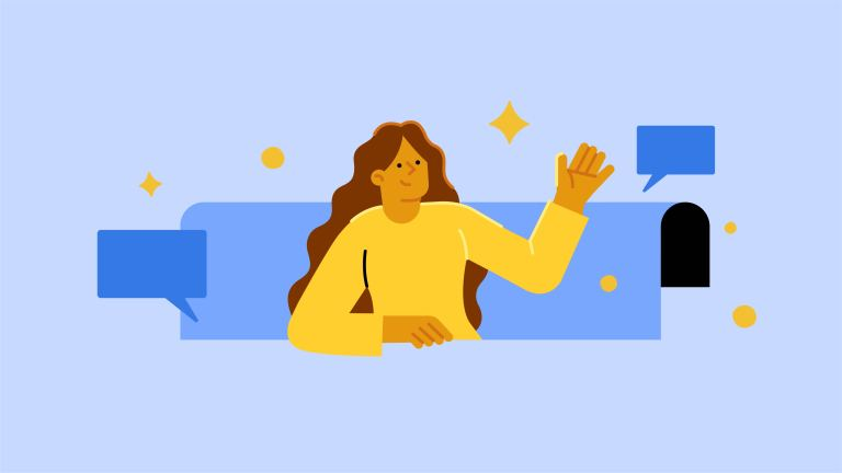 Illustration of a woman and Page experience graphics