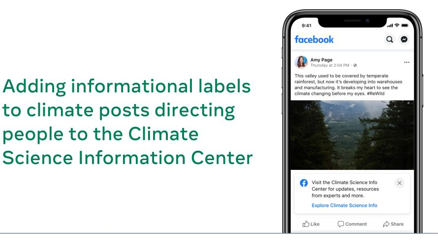 Screenshot of informational labels on climate posts