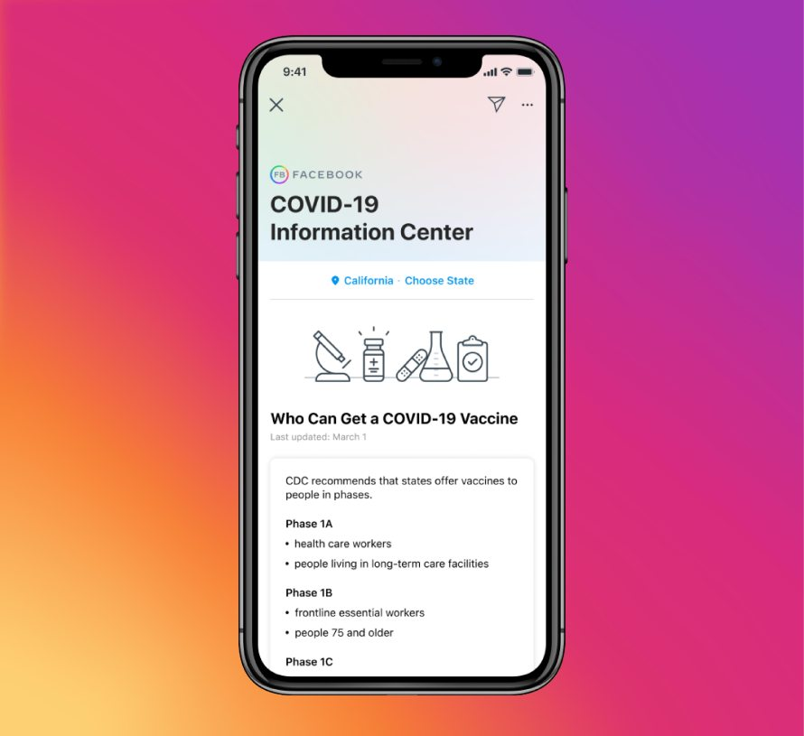 Screenshot of COVID-19 Information Center on Instagram