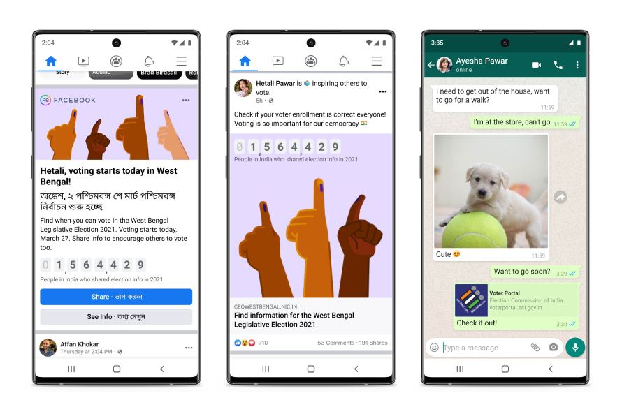 Screenshots of voting information on Facebook and WhatsApp