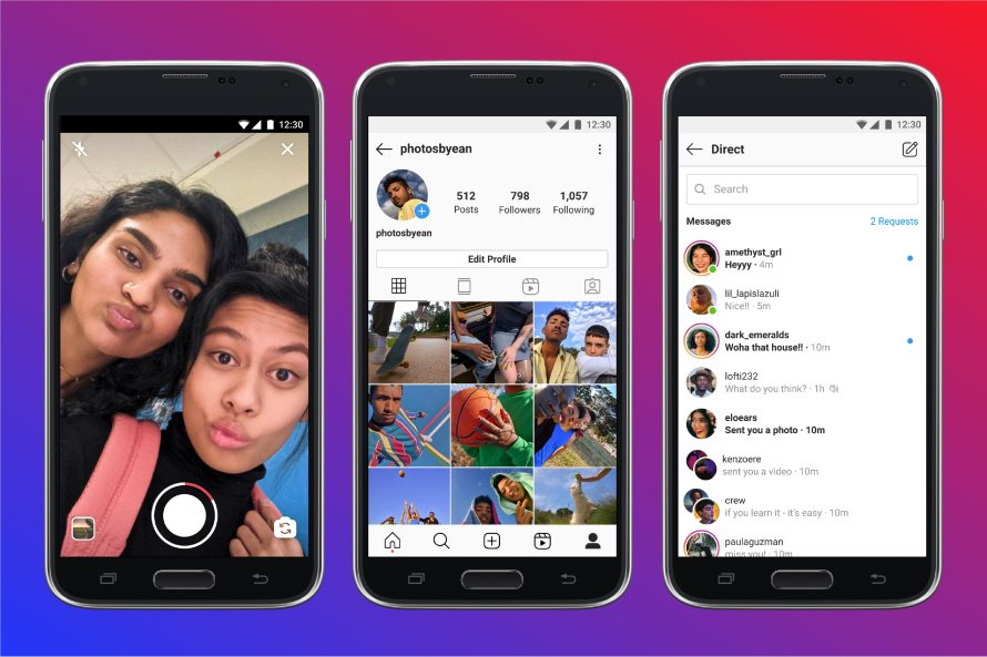 Screenshot of Instagram Lite direct video recording and direct messaging
