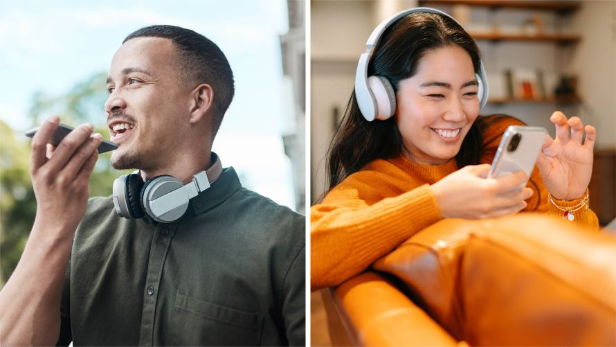 Photo of a man recording audio on his phone and a woman listening through headphones