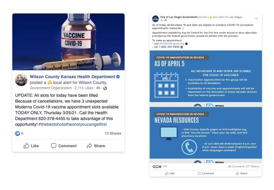 COVID 19 vaccine eligibility notifications screenshots