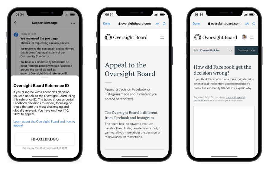 Oversight Board product mock screenshots