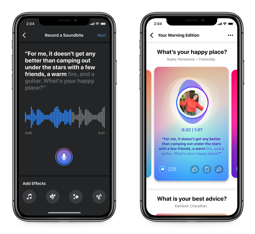 Images of two phone screens showing Facebook's new Soundbite audio feature.