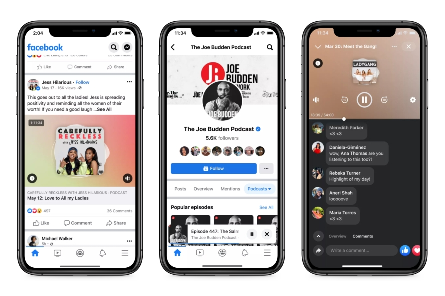 Facebook's podcasts feature