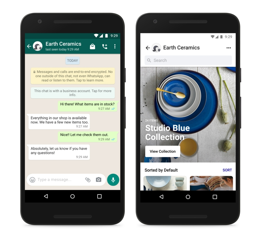 Screenshot of Shops in WhatsApp